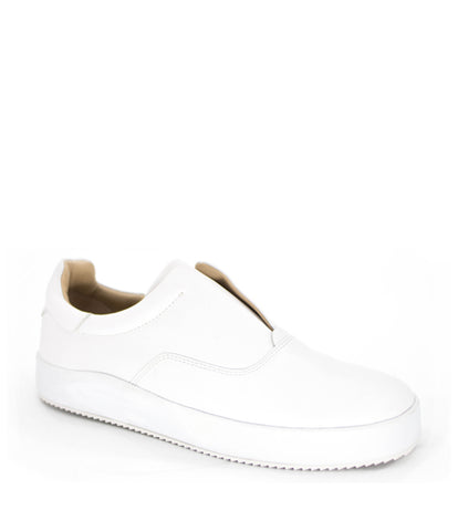 LEATHER SKATER SLIP-ON - WHITE