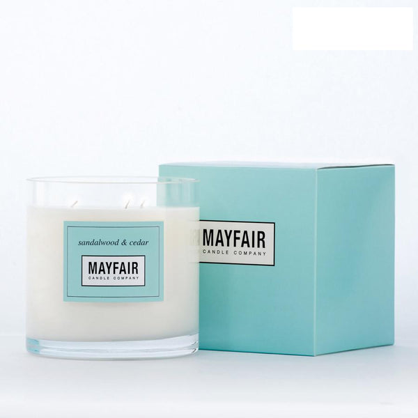 Sandalwood & Cedar 3-Wick 750g Candle, 3-Wick Candle, Mayfair Candle Company- Mayfair Candle Company