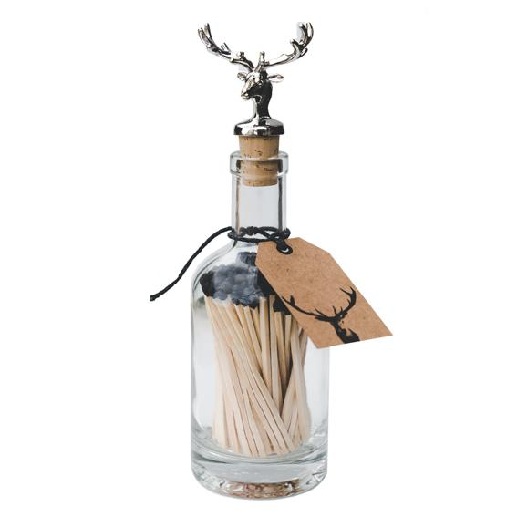 Limited Edition Black Matches In A Bottle 'Stag Bottle Stopper' - Mayfair Candle Company