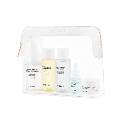 [BY ECOM] PURE CALMING Travel Kit (First Water 30ml, Ampoule 5ml, Cica Cream 10ml, Cleansing Oil 30ml, Bubble Cleanser 30ml)