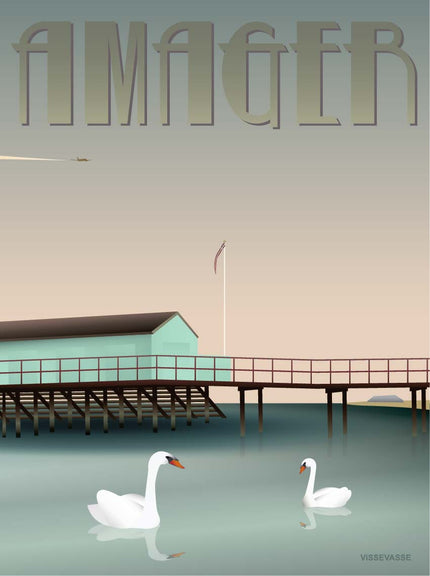 Poster from ViSSEVASSE with swans in the water