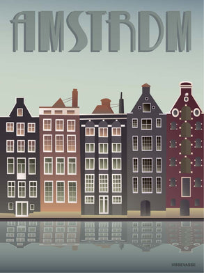 Amsterdam poster with houses from vissevasse