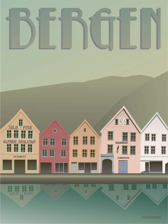 Poster from ViSSEVASSE Bergen bryggen with houses by the water