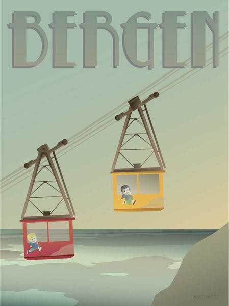 Bergen poster  with cable cars from ViSSEVASSE