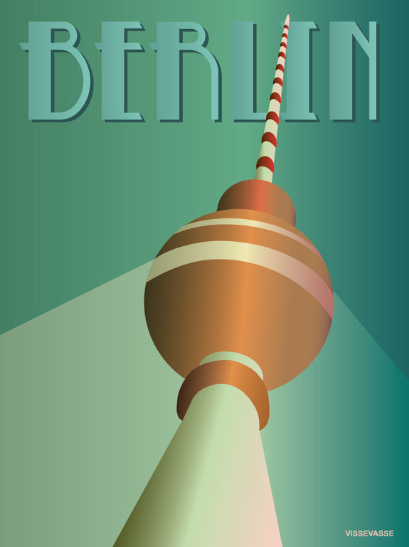 Berlin tv tower poster from ViSSEVASSE in green tones