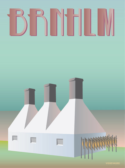 Bornholm poster from ViSSEVASSE with smoke houses