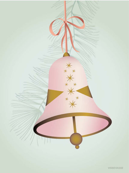 Christmas card with pink bell from ViSSEVASSE