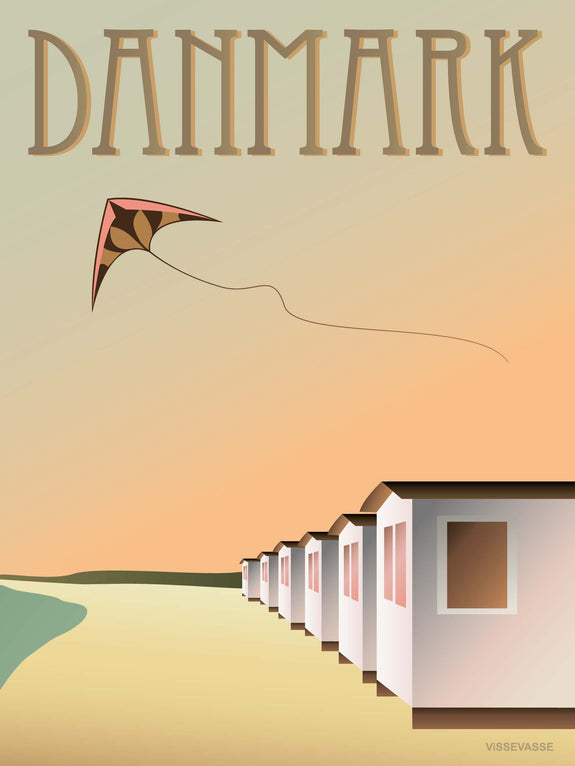 Denmark poster from ViSSEVASSE with beach huts