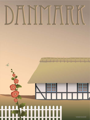 Denmark poster from ViSSEVASSE with a farm house