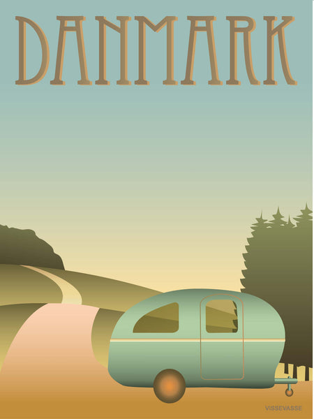 Denmark poster from ViSSEVASSE with a caravan