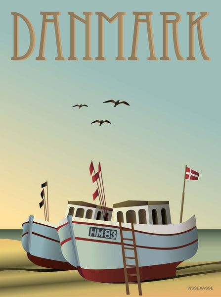 Denmark poster from ViSSEVASSE with fishing boats