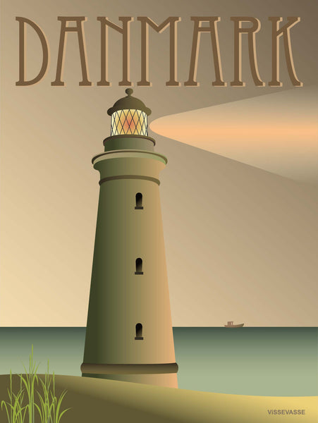 Denmark poster from ViSSEVASSE with a light house