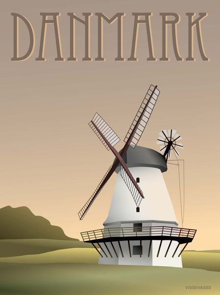 Denmark poster from ViSSEVASSE with the old mill