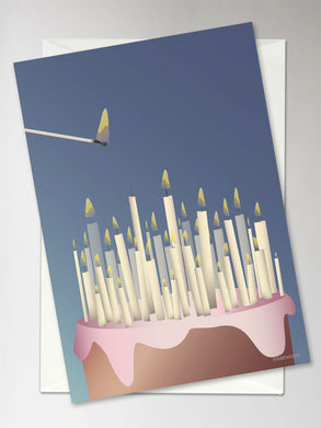 Vissevasse, cake with candles, greeting card