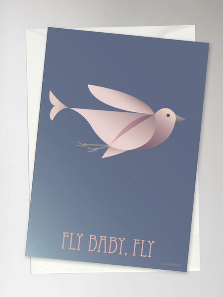 Card with pink bird flying from ViSSEVASSE