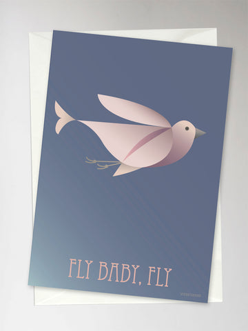 FLY BABY, FLY blue - Greeting Card