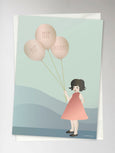 Card with girl holding balloons from ViSSEVASSE