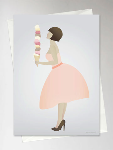 ICE CREAM LADY - Greeting Card