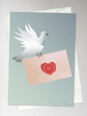 Card with dove holding a letter from ViSSEVASSE