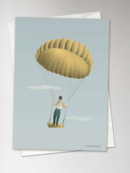 Card with man and yellow balloon from ViSSEVASSE