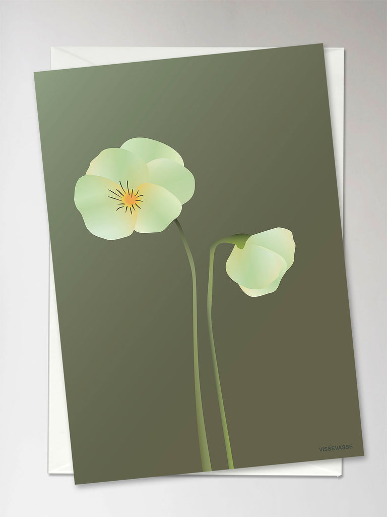 Vissevasse, pansy forest green, greeting card
