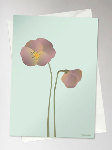 PANSY mint - Greeting Card