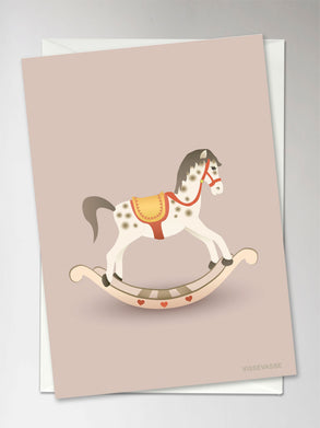 Rocking horse greeting card from Vissevasse