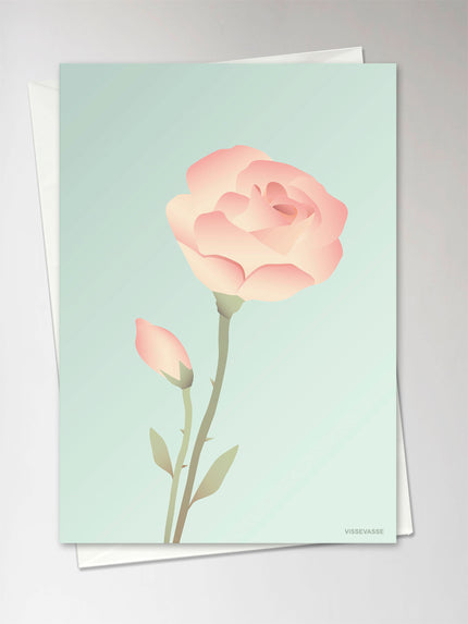 Vissevasse, rose mint, greeting card