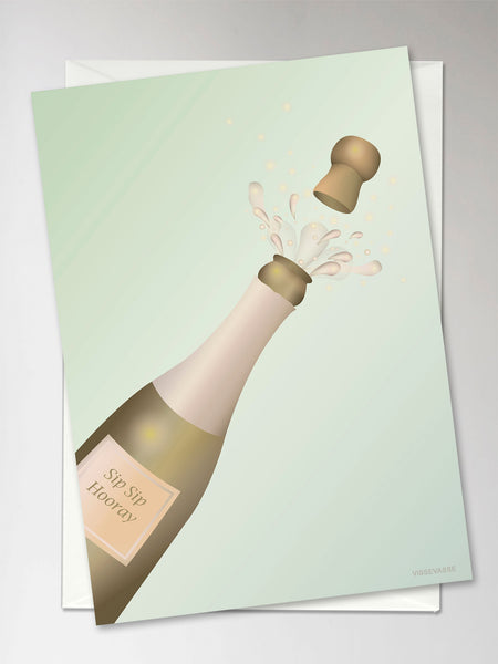 Card with popped champagne from ViSSEVASSE