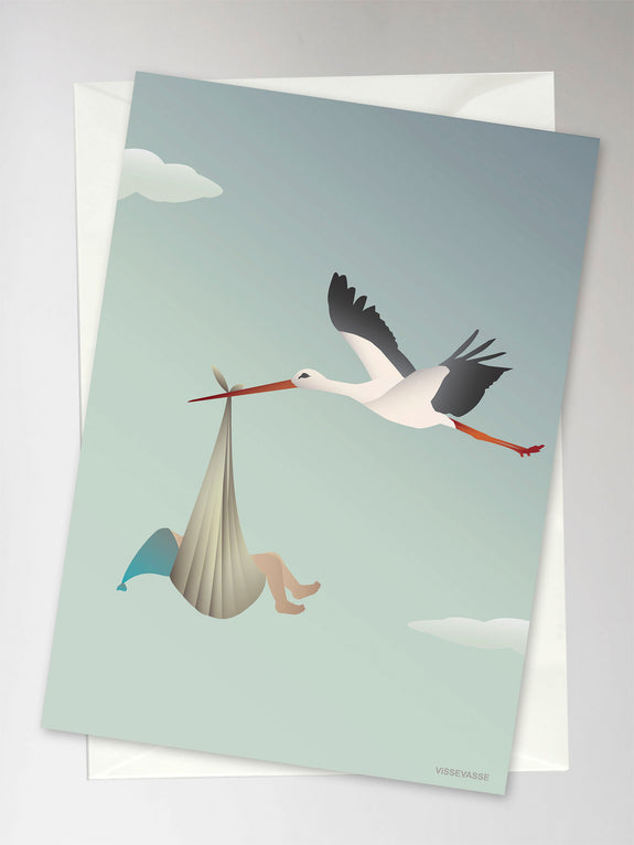 Card with stork and baby from ViSSEVASSE