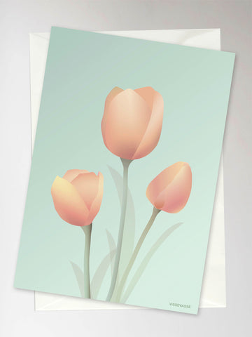 TULIPS mint - Greeting Card