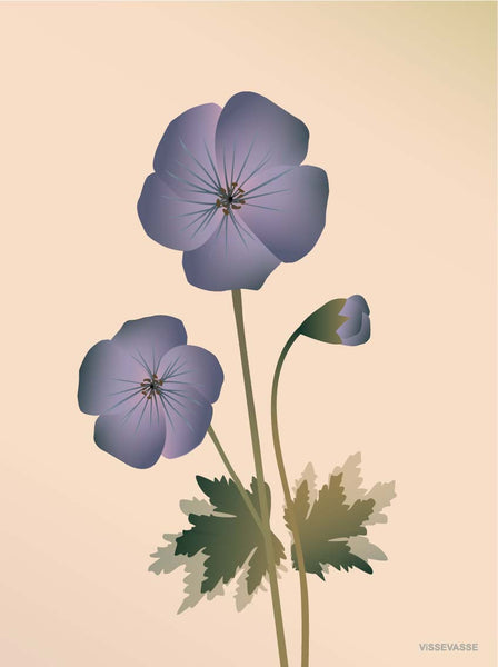 Geranium poster from ViSSEVASSE with purple geranium