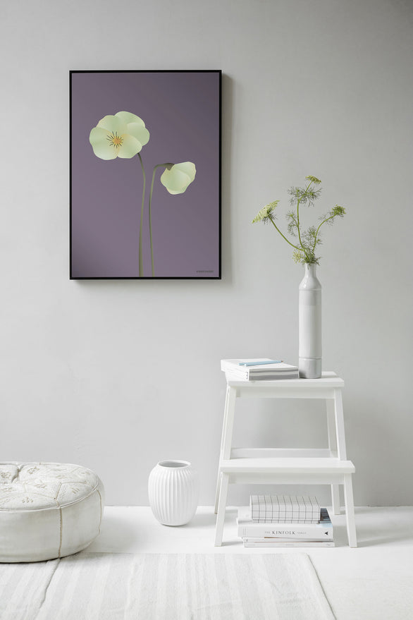 Pansy poster from ViSSEVASSE with light green pansy
