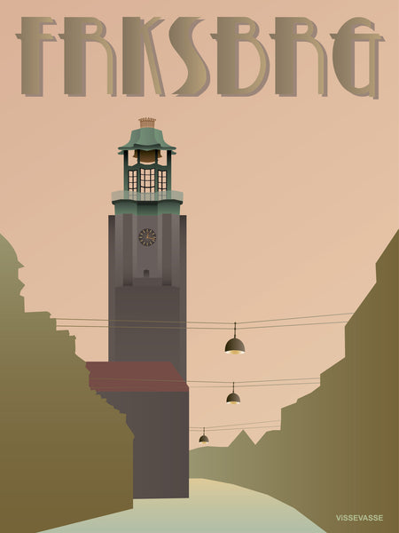 Frederiksberg poster from ViSSEVASSE with the tower at city hall