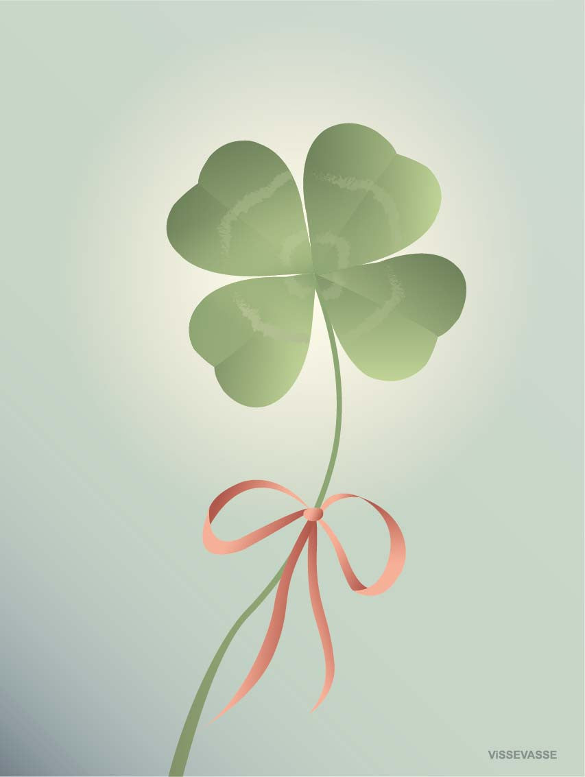 Good Luck Poster From ViSSEVASSE With Four Leafed Clover