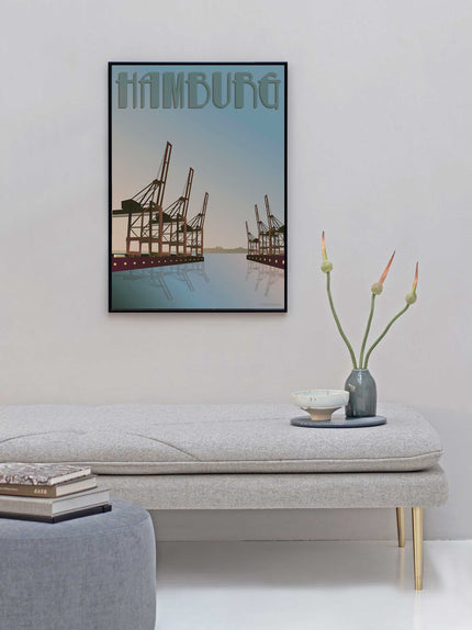Hamborg poster from ViSSEVASSE with cranes