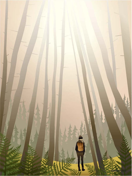 Into the woods poster from ViSSEVASSE with man walking into the woods
