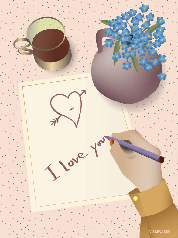 I love you letter greeting card from Vissevasse
