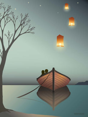 Poster with boat and lanterns vissevasse