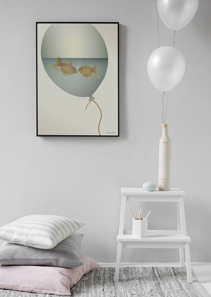love in a bubble poster from ViSSEVASSE with gold fish in a balloon