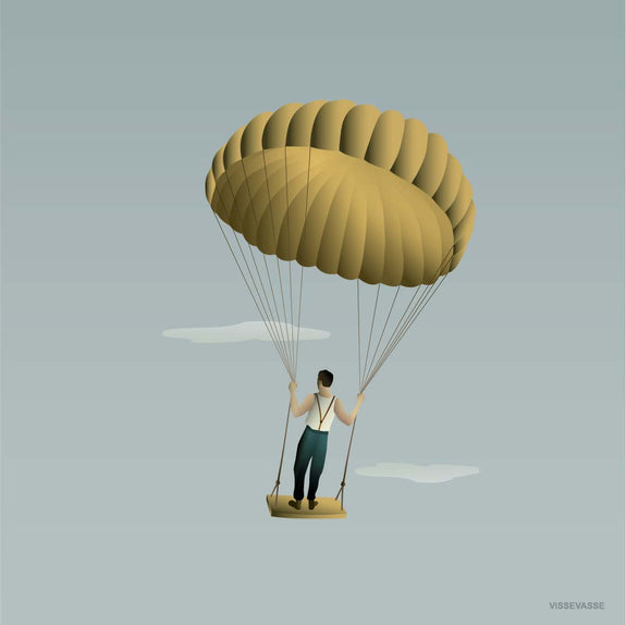 MAN IN THE SKY poster from ViSSEVASSE with a man on a balloon swing