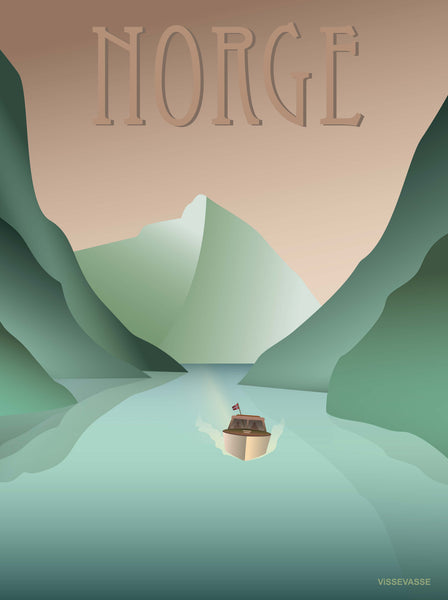Norway poster from ViSSEVASSE with boat sailing on the fjord