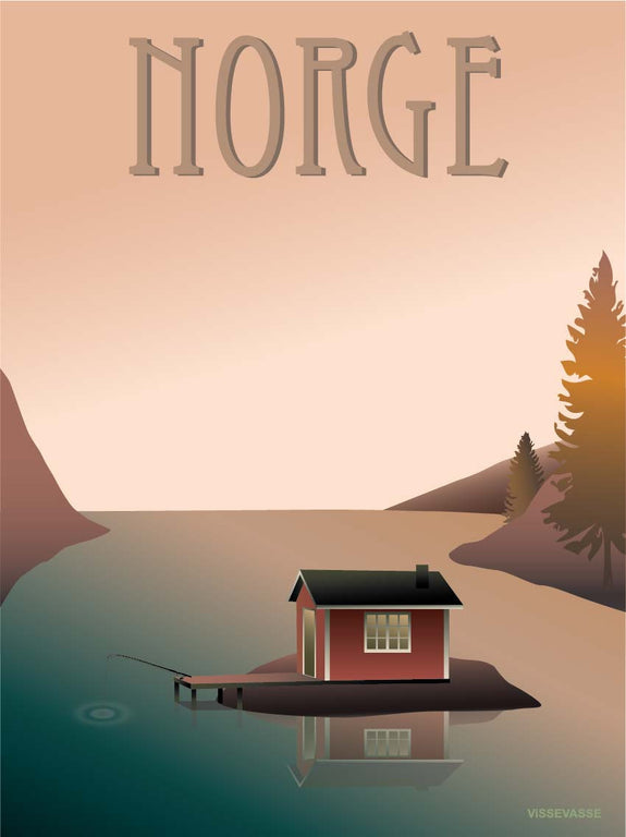 Norway poster from ViSSEVASSE with fishermans house on the lake