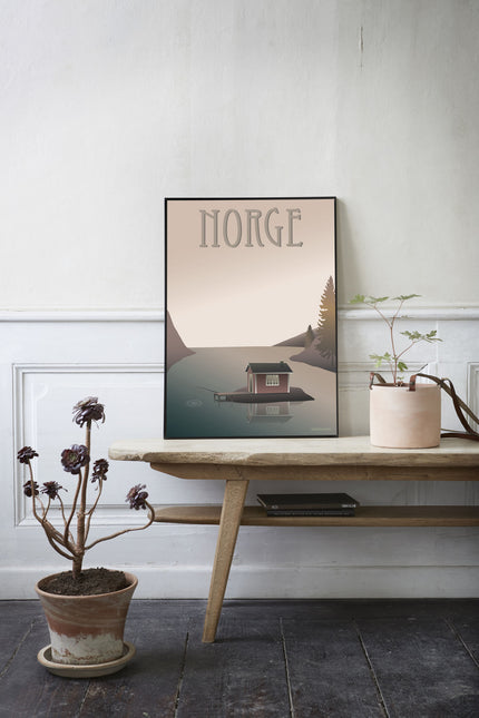 Norway poster with the fisherman's cottage from vissevasse