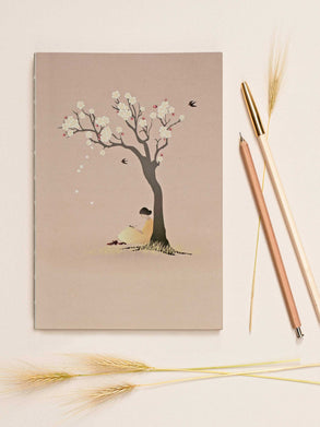 Notebook with girl under tree from ViSSEVASSE