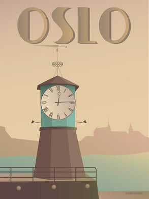 Oslo poster from ViSSEVASSE with the clock on Aker Brygge