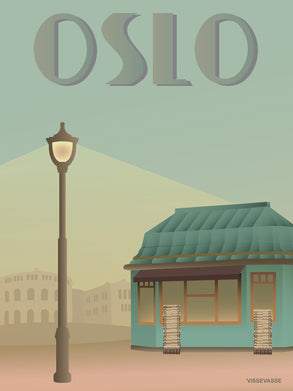 Oslo newspaper shop poster from vissevasse