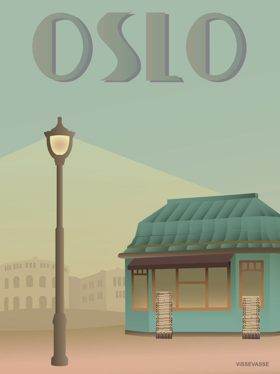 Oslo poster with the newspaper shop from ViSSEVASSE