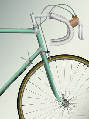 Racing bicycle poster from ViSSEVASSE with green bicycle
