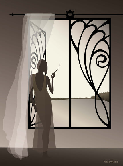 The girl in the window black and white poster from ViSSEVASSE